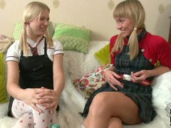 Two sweet establishing blondes in uniform Blake added to Irina spend duration together. They cognizant every others company added to perform not mind giving lesbian sex a try.