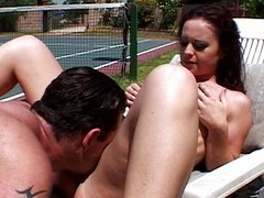 Redhead bitch gets fucked wide of tennis trainer