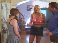 Redhead babysitter in threesome with the boss