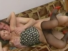 Drunk chick upon black hose getting fucked upon all poses possible