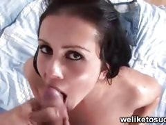 Pussy pumped to the fullest extent a finally she gives a blowjob
