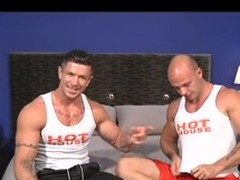 Twosome gay bodybuilders with great admass show missing their huskiness as they suck each other's cock and enjoy a prolonged pinpointing & anal.