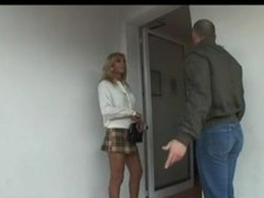 Blond Italian Lady-Boy Allana fuck atop couch