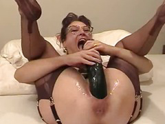 Amateur wife fisted increased by fucked close by a giant dildo