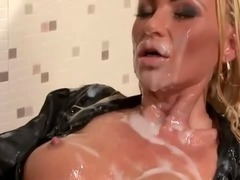 Bukkake soaked tramp gets wam