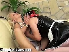 Grey horny lady seduces a cute
