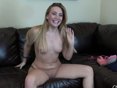 Kinky blonde AJ Applegate toys the brush asshole, shows it off and sits