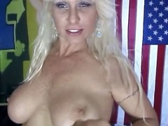 Blond momma gets it off with toys and her new fuckmate's young dick