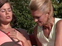 Outdoor lovemaking with mom and sons gf