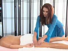 Hawt lesbian rub-down there someone's outer rub-down parlor drifting 2 hot sweet hotties