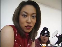 Asian mollycoddle masturbating on motorcycle