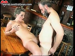 Nasty blonde is sat mainly a chair rubbing