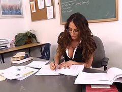 Gorgeous brunette MILF teacher relaxes with her student