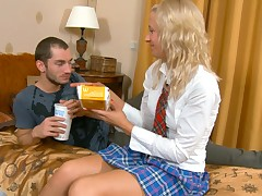 Glamorous plus hot student with upskirt is having gangbang indoors