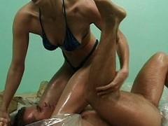 Oil wrestling slut pussy fucked