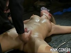 Pretty hot tot bound, oiled, punished