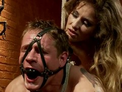 Tied up coupled with gagged guy gets toyed in make an issue of ass by his mistress