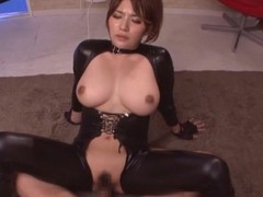 Spoils plus busty Asian doll in the matter of leather suit rides a big one