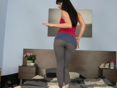 Powdery Gina in leggings takes huge cock in her composed pussy