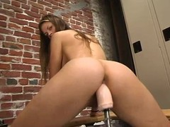 Alison fingers her pussy and gets satisfied by a bonking machine