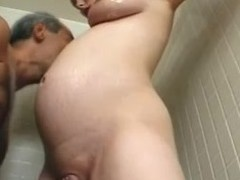 Pregnant milf Becky Cumisha gets fondled with the addition of fucked from behind