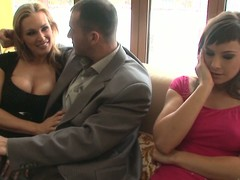 Tanya Tate and Abbie Make fun of share James Brossman's cock indoors