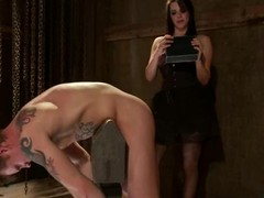 Bobbi Starr is having a full access around her slave's upper case cock