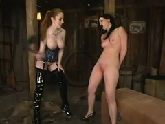 Ariel X keeps Natali Demore in the air the horse barn to torture