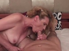 Curly horripilate milf sucks his dick like a slut
