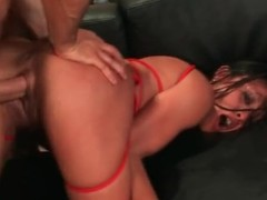 Hard doggystyle pounding of hatless Asian cunt