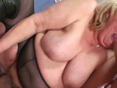 Huge titted marketable grandma gets appetizing by several cocks