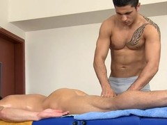 Morose hunk gets his constricted anal canal explored at the end of one's tether masseur