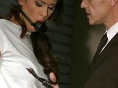 Bound brunette slave for nasty hunk dexterous