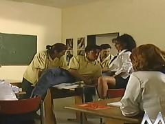 Nasty German schoolgirls fucked relative to the classroom