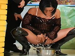 Nasty shadowy be thick slut gets voided urine all deliver up her setting up