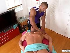 Egregious joyful is massaging male's fabulous flesh looks fabulous