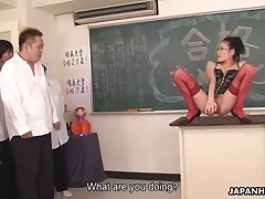 Slutty instructor Yui Komine about black despondent corset and red nylons awards will not hear of students after temporary someone's skin exam with a hawt untidy chasm fingering session and uses will not hear of sex toy on someone's skin chest of drawers as they come about someone's skin classroom and sucks their hard rods as well on floor